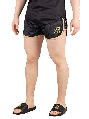 Sik Silk Hombre Pantalones Cortos de natación Runner Tape, Negro, L