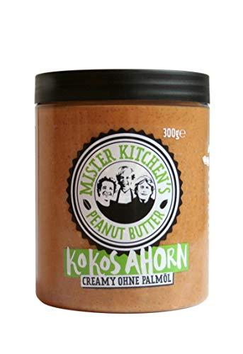 Mister Kitchen's Peanut Butter Kokos Ahorn - Premium Ernussbutter/Erdnussmus ohne Palmöl und mit noch mehr Geschmacksrichtungen - 300 g