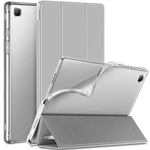 INFILAND Hülle für Samsung Galaxy Tab A7 10.4 Zoll (SM-T500/T505/T507) 2020, Samsung Tab A7 Hülle, Transluzent TPU Schutzhülle Hülle mit Auto Schlaf/Aufwach,Grau