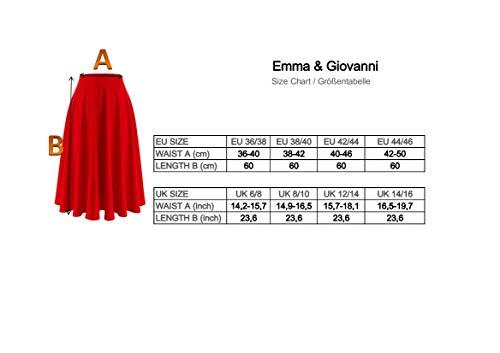 Emma & Giovanni - Gonna Corta Midi - Donna (Nero, 38-40)