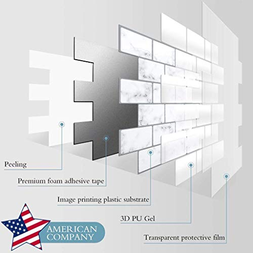 CozyWallz Kitchen Backsplash Peel and Stick, and Bathroom, Laundry Room Tiles, Heat and Staining resistant, 3d wall panels peel and stick backsplash, 12