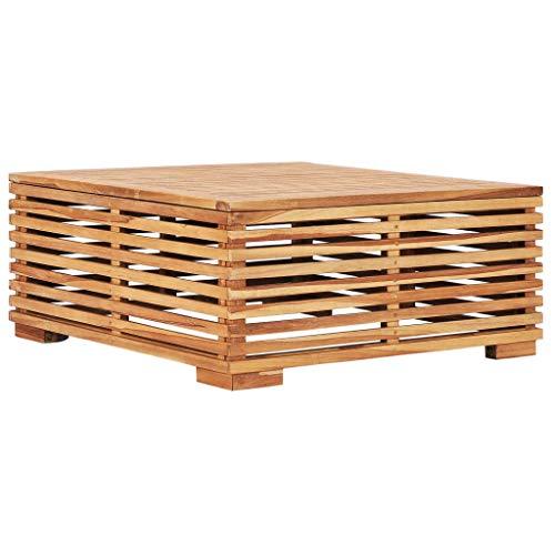 vidaXL Teak Massiv Gartentish für 4 Personen Couchtisch Beistelltisch Balkontisch Kaffeetisch Holztisch Teetisch Gartenmöbel 69,5x69,5x31cm