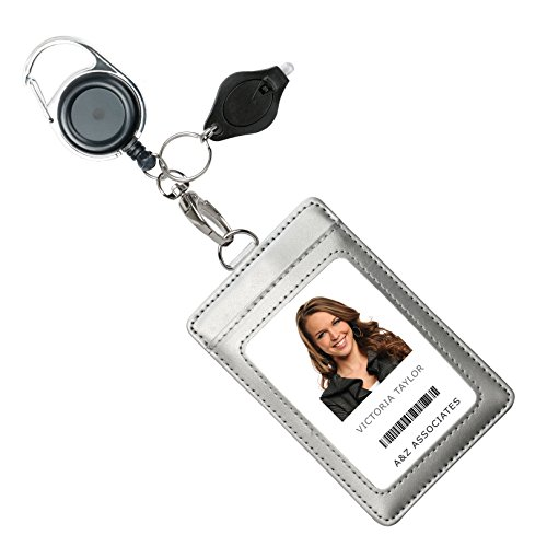 Genuine Leather ID Badge Holder Wallet with Heavy Duty Carabiner Retractable Reel, Key Ring and Metal Clip, 3 Card Pockets. Holds Multiple Cards & Keys. Bonus Key Chain Flashlight. Vertical. Silver.