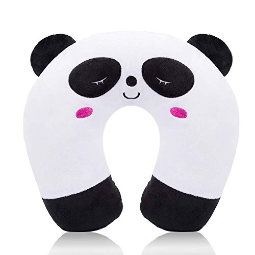 Cuscino da Viaggio Bambini Cuscino Cervicale - Ultra Morbido Cuscino Cervicale Animali per Dolori Cervicali Sonno per Seggiolino Auto RAV Aereo (Panda)