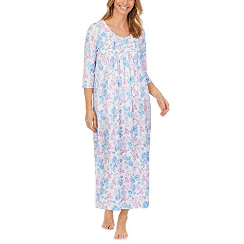 Carole Hochman Soft Jersey 3/4 Sleeve Long Gown Blue/Pink/Floral LG