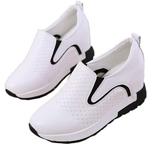 Zapatillas de Deporte de Mujer Slip-On Black White Slip-On Mocasines de Aumento de Altura Low-Top Autumn Grid Pattern Zapatos Gruesos Antideslizantes