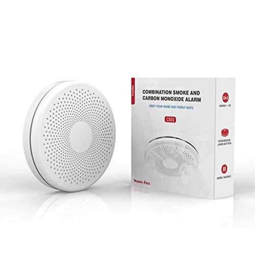Allarme per rilevatore di fumo intelligente e monossido di carbonio Wifi con sensore fotoelettrico IR, sensore a doppio sensore e allarme composto Co composto con notifica SMS, funziona con APP TUYA