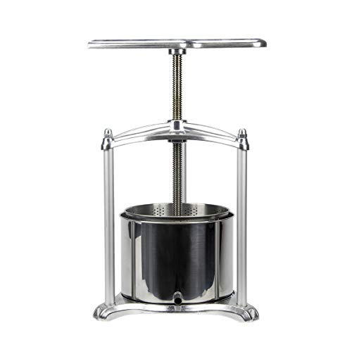 Fruit Wine Press - 100% Nature Juice Making for Apple/Carrot/Orange/Berry/Vegetables,Cheese&Tincture&Herbal Press(1.6 Gallon,Sliver)
