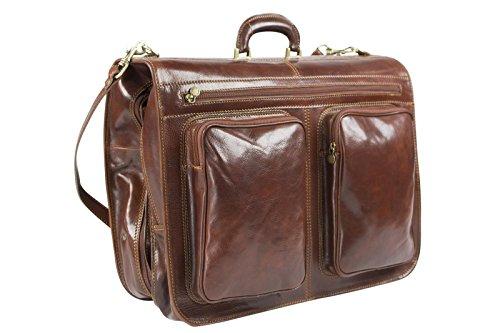 Funda para traje con forma de maletín - Ideal como equipaje de cabina - Cuero italiano - Marrón