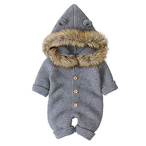 Wahyou® Baby Mädchen Jungen Winter Warm Overall Kleidung Set Baby Unisex Langarm Stricken Strampler mit Kapuze Baby Toddler Neugeborenes Outfit 0-18 Monate(Grau,80)