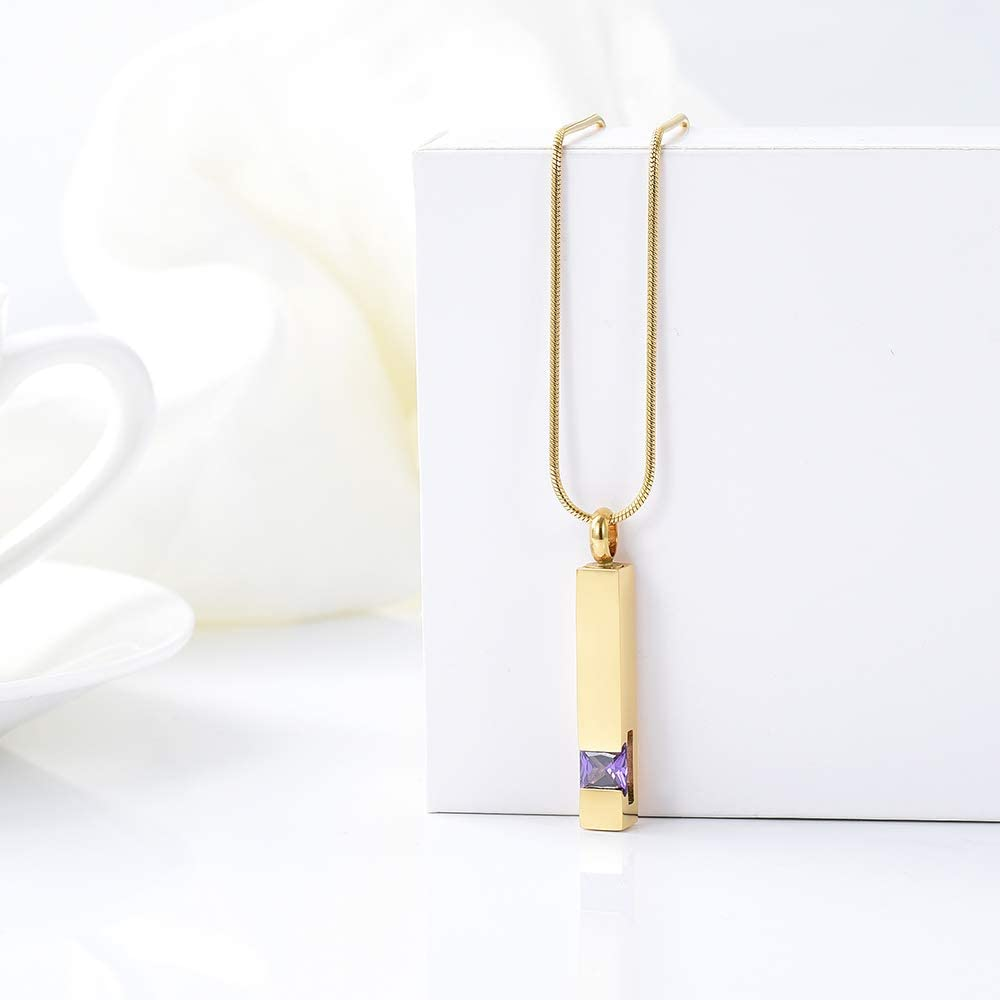 zeqingjw Gold Cremation Jewelry for Ashes Necklace Stainless Steel Crystal Bar Charm Urn Pendants Ashes Cube Memorial Keepsake Jewelry