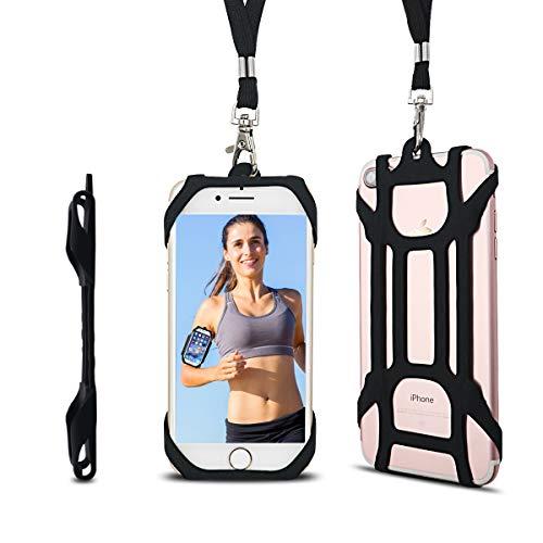 Girafus Porta Cellulare da Collo + Fascia Braccio Smartphone Running Corsa/Porta-Cellulare Jogging, Sport per iPhone, Galaxy Huawei Sony LG/Cordino Custodia Supporto Silikone Telefono (Nero)