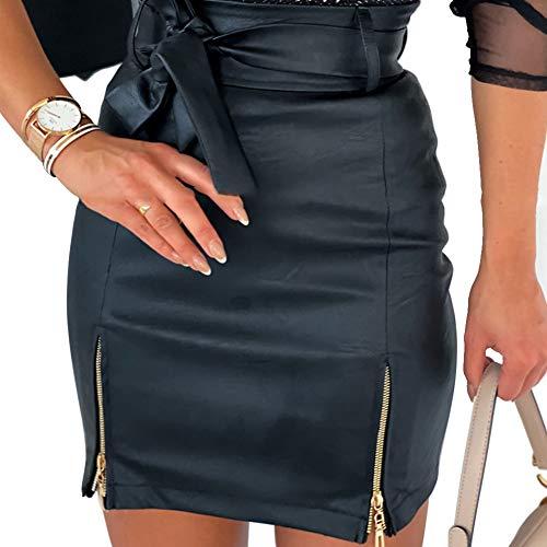 Falda Ajustada de Cuero PU Falda Sexy de Cintura Alta con Cordón y Cremallera para Mujer Mini Falda de Lápiz Moderna con Bowknot y Color Sólido para Casual Fiesta Cóctel Club Noche