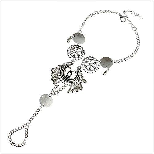 5starwarehouse® verzilverde bloem vinger armband sieraden cadeau voor hem haar voorraad vulmiddel A356