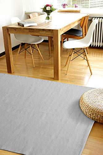 Moderner Baumwoll Teppich Living hellgrau 140x200cm - waschbarer Webteppich aus 100% Baumwolle