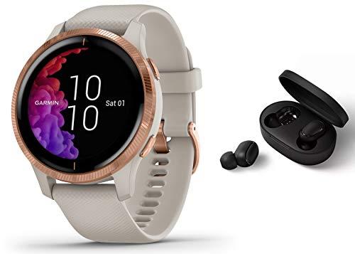 Garmin Venu - GPS Fitness Smartwatch - Musicplayer Herzfrequenzmessung - Sand/beige inkl. Bluetooth Headset
