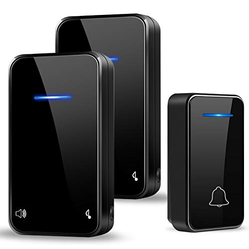PYBBO Non Richiede Batteria Campanello Senza Fili, Autoalimentato Wireless, Indicatore LED Impermeabile IP55, 48 Melodie e 7 Livelli di Volume, 200M Ambito, 1 Trasmettitore e 2 Ricevitore