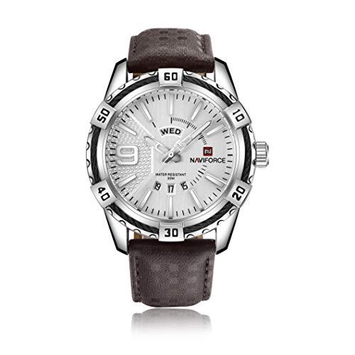 NAVIFORCE Reloj de pulsera de cuero para hombre, estilo...