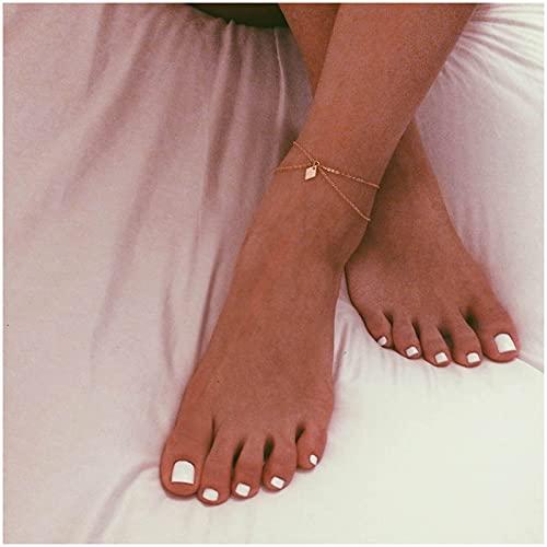 Sttiafay Pulsera de tobillo estilo bohemio, con dije de rombo minimalista, cadena fina, joyería para mujeres y niñas