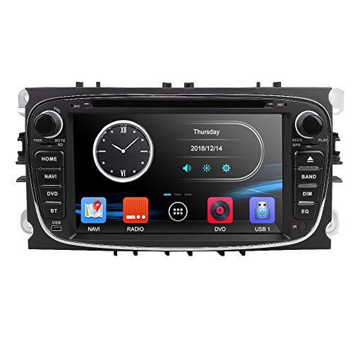 Schwarz- 7 Zoll Doppel-Din-Autoradio-DVD-Player mit GPS-Navi für Ford Focus Mondeo Galaxy S-max C-max Unterstützt DAB + Bluetooth USB SD DVD-Lenkradsteuerung