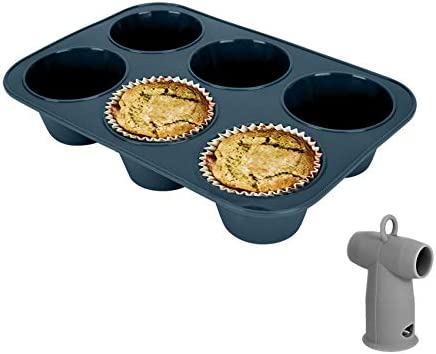 Giant Silicone Muffin Baking Pan Jumbo Cupcake Tray 6 Cup Large Nonstick Bakeware Cake Molds product image