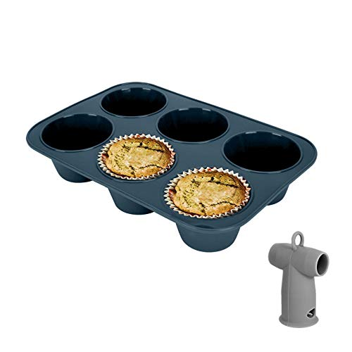 Vnray Silicone Muffin Baking Pan Jumbo Cupcake Tray 6 Cup- Large Nonstick Bakeware Giant Cake Molds/Tin & Silicone Steam Release Diverter Compatible with Instant Pot Accessories 3/5/6/8 Quart BPA Free