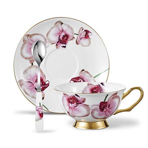 Panbado - Set di 3 tazze da caffè, tazza da tè, piattino e cucchiaio (200 ml) Phalaenopsis