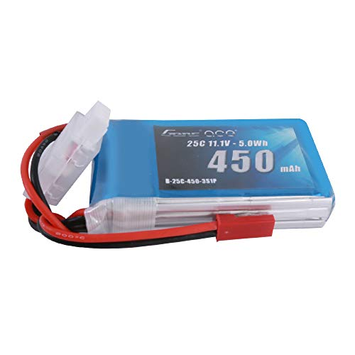 Gens ace 11.1V 450mAh 3S 25C LiPo Battery Pack with JST Plug for Blade Torrent 110 Baby Hawk Micro 2 E-Flite Blade 180 CFX Micro FPV Racing Drone Quadcopter RC Car Heli Airplane Boat Truck