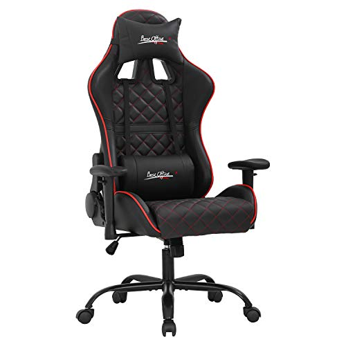 PC Gaming Chair Racing Office Chair Ergonomic Computer Chair with Lumbar Support Headrest Adjustable Armrest Home Rolling E-Sports Desk Chair Swivel Task Chair Red