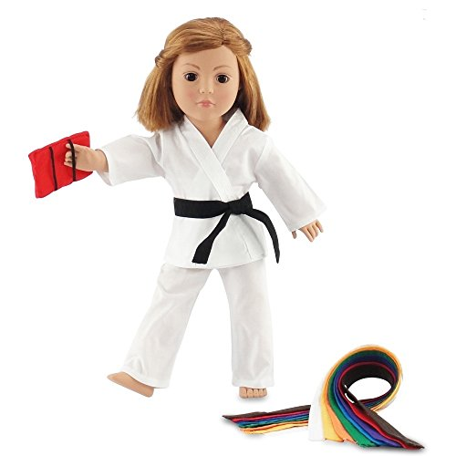 Emily Rose | 18 Inch Doll Clothes Karate Doll Outfit Gift Set, Includes All 9 Color Belt Doll Accessories | Gift Boxed! | Doll Clothes and Accessories for American Girl Dolls
