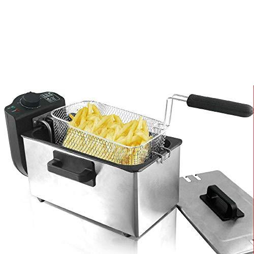 Premium Edelstahl Fritteuse I XXL Volumen 3 Liter I Kontrollleuchte I Thermostat regelbar bis 190 ° C I Überhitzungsschutz I Edelstahlfritteuse I