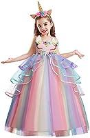 NNJXD Robe Licorne Enfant de Princesse, avec Volants Cosplay pour Le Mariage et Les Parties