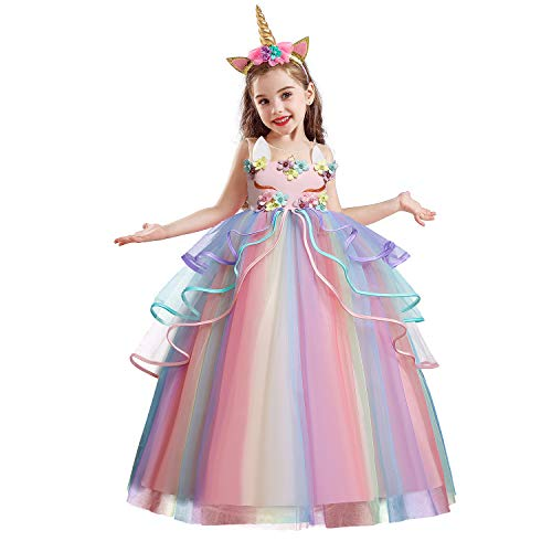 NNJXD Vestido de Unicornio para Niña Fiesta de Navidad de Halloween Disfraz de Cosplay Tamaño (160) 11-12 años 719 Rosa-A