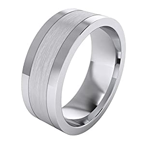 Herren-Ring / Ehering aus massivem Sterlingsilber, 8 mm, mattgebürstete Mitte und polierte Seiten, flach, komfortable Passform