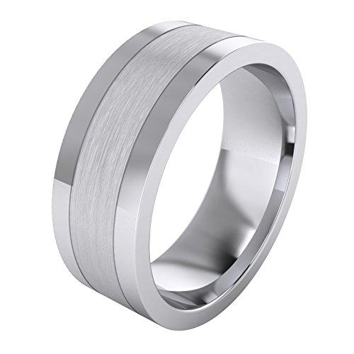 Anillo de plata de ley maciza de 8 mm con forma de corte plana cepillada y lados pulidos para hombre, Plata-esterlina, Sin piedras preciosas,