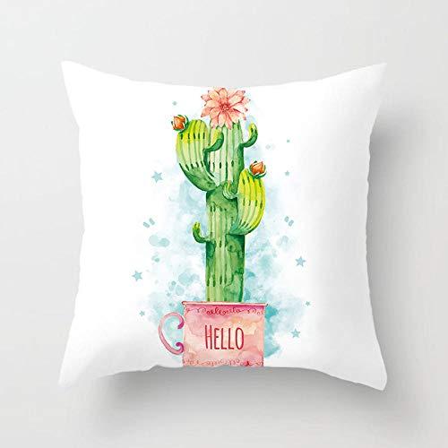 Plantas tropicales modernas Hojas Funda de cojín Agave Cactus Monstera Estampado Funda de almohada blanca simple Sofá Funda de cojines para sofá 45 × 45 cm-3