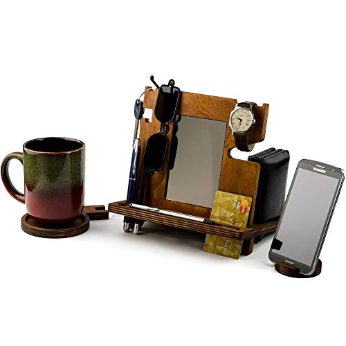 Wooden Docking Station, Desk organizer For Smartphone, Tablet, Watch, Wallet, Shades, Keys Coins, Handmade Men's Christmas Gift, for Him, for Husband, Dad Gifts, with Built-in Mirror, with Card Holder