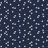 Baumwollstoff Dreiecke Navy Blau Webware Meterware Popeline