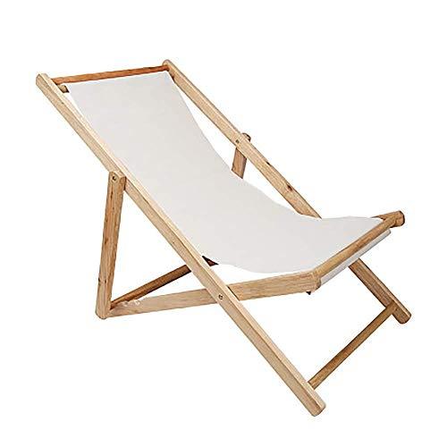 THMY Lettini da Esterno reclinabili, Sedia da Spiaggia Sedia a Sdraio Pieghevole Pigro da Esterno Oxford Canvas Applicare al Balcone Home Leisure, Bianco