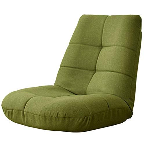 HongTeng-Stuhl Lazy Lounge Sofa Verstellbare Rückenlehne Faltbarer Bodenstuhl Weiches Kissen Einzel Schlafsofa Lesesofa (Color : Green)