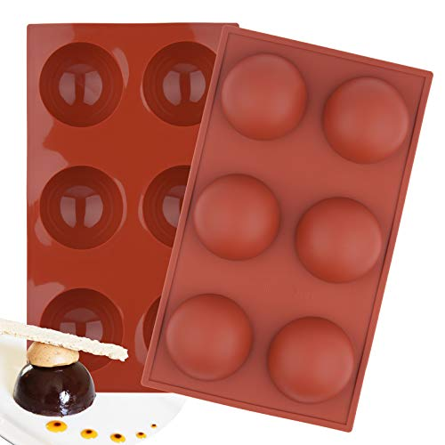 Kulmeo Silicone Sphere Molds 2.5 Inch Semi Sphere Silicone Mold For Chocolate Bombs 6 Holes Silicone Molds 2 Pack Red