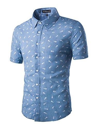 uxcell Herren Kurzarm Knopfleiste Fishbone Muster Shirt Hemd Blau 44