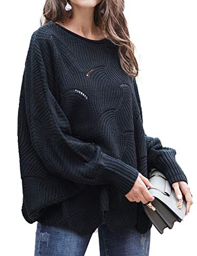 Relipop Women's Pullover Batwing Sleeve Loose Hollow Knit Sweaters Black