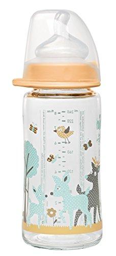 nip Weithalsflasche mit Anti-Kolik Sauger: Baby Trinkflasche mit ACTIFLEX- System, Made in Germany, BPA-Frei, Glass, Einheitsgröße, Saugloch M-mittlerer Trinkfluss, 240 ml, Girl