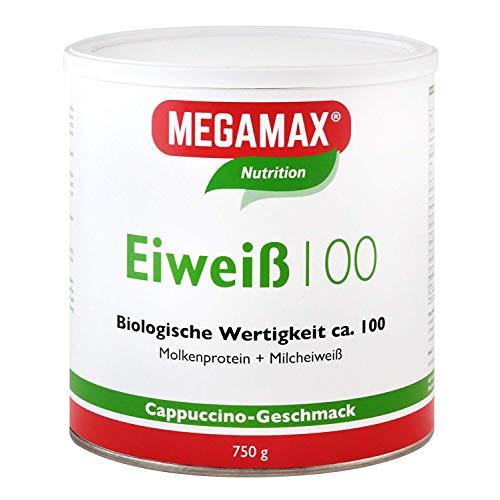 MEGAMAX Nutrition Eiweiß 100 Pulver Cappuccino-Geschmack, 750 g Poeder
