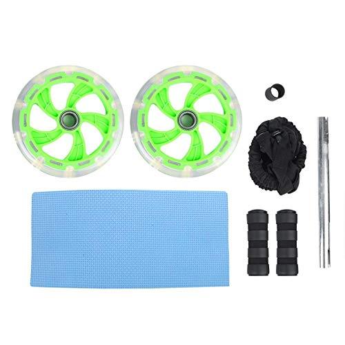 Xndz Rodillo de Fitness, Puede involucrar Sus músculos centrales Entrenador Abdominal con Materiales ABS de diseño de 2 Ruedas para Ejercicio Deportivo(Bearing Green + Pad + Elastic Rope)