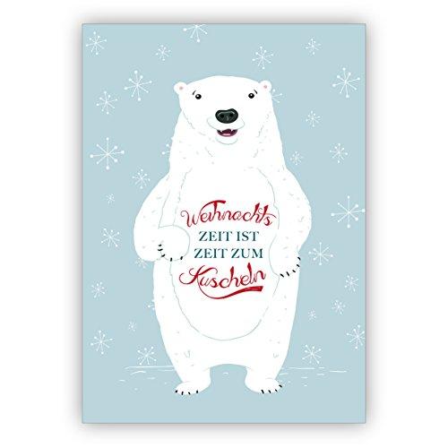 1 kerstgroet: schattige ijsberen kerstkaart met leuke kerstgroet: Kersttijd is tijd om te knuffelen • als mooie wenskaart voor Kerstmis aan het einde van het jaar voor vrienden.