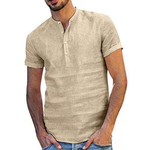 T-Shirt für Herren/Skxinn Männer Sommer Baumwolle Leinen Yoga Kurzarm Bluse,T-Shirt Hemd Stehkragen SOID Strand T-Shirt Retro Top Blouse Sweatshirt Casual Lose Tops S-XXL Ausverkauf(Khaki,Medium)