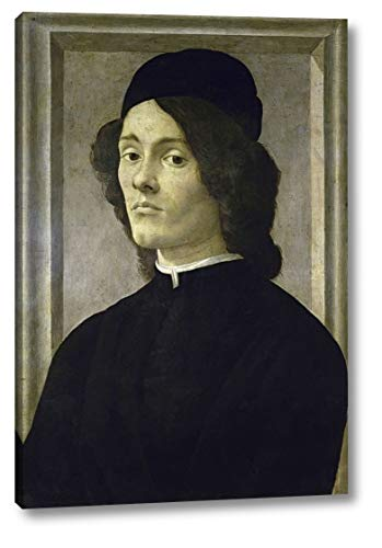 """Portrait of a Manlate by Sandro Botticelli - 17"""" x 24"""" Canvas Art Print Gallery Wrapped - Ready to Hang"""