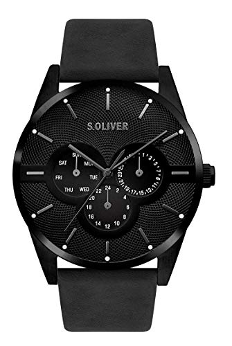 s.Oliver Herren Multi Zifferblatt Quarz Armbanduhr mit Lederarmband SO-3572-LM